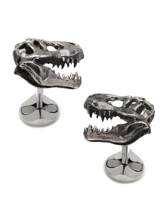 Silver T. Rex Dinosaur Cuff Links