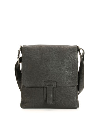 Small Leather Messenger Bag, Black