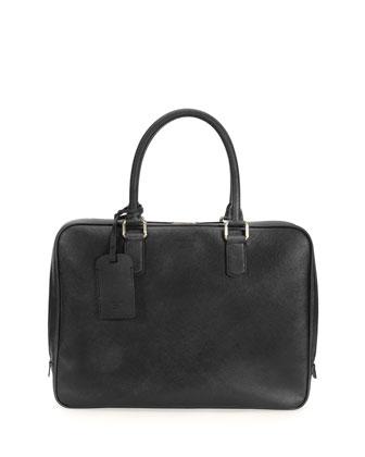 Saffiano Leather Briefcase, Black