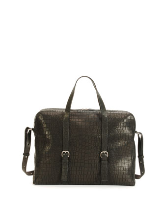 Croc-Stamped Leather Briefcase Bag, Black