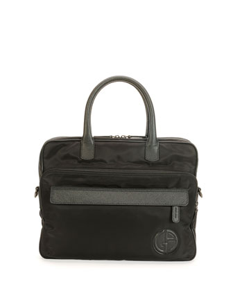 Nylon Briefcase with Leather Trim, Nero