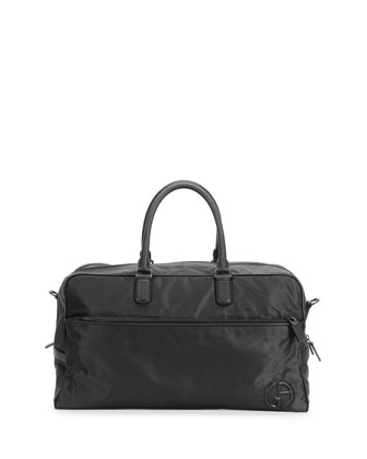 Nylon Weekend Bag with Leather Trim, Nero