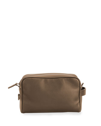 Textured Leather Toiletry Case, Brown