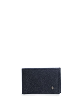 Saffiano Leather Bi-fold Wallet, Blue
