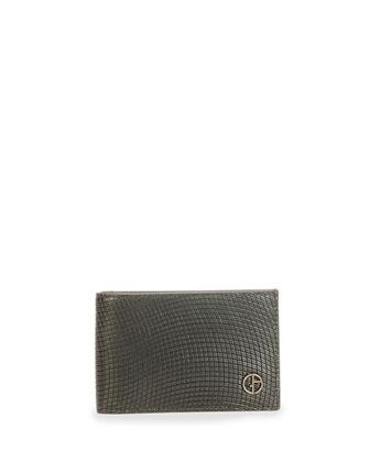 Stamped Leather Bifold Wallet, Black