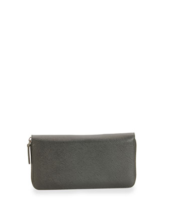 Foglio Saffiano Leather Zip Around Wallet, Black