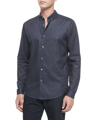 Geo-Print Long-Sleeve Woven Sport Shirt, Navy