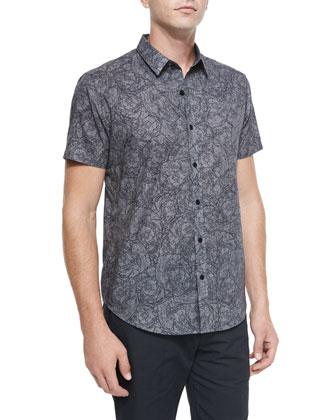 Squiggle-Print Short-Sleeve Woven Shirt, Gray Pattern
