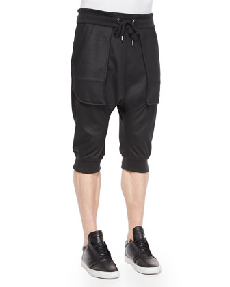 Color Block Woven Tee & Cargo-Pocket Jogger Pants