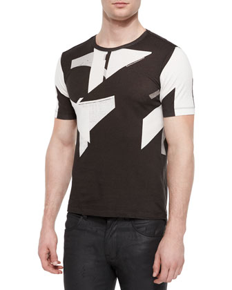 Abstract Graphic Tee, White/Black