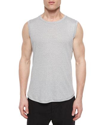 Crewneck Knit Muscle Tank, Dark Gray
