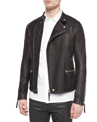 Asymmetrical Leather Rider Jacket, Short-Sleeve Woven Shirt & Wax-Coated ...