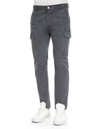 Twill Cargo Pants, Dark Gray