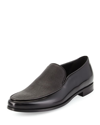 Textured Leather Slip-On Loafer, Black