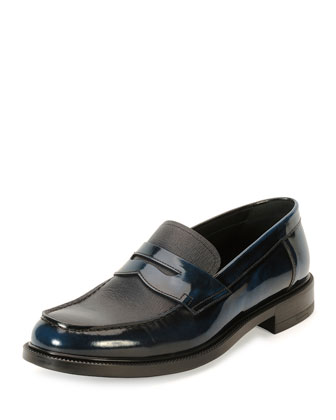 Saffiano Leather Slip-On Penny Loafer, Blue