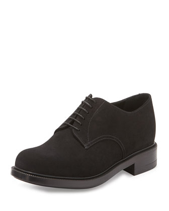 Suede Derby Shoe, Black
