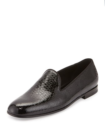 Textured Patent Leather Slip-On Shoe, Black