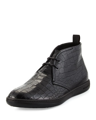 Croc-Stamped Leather Chukka Boot, Black