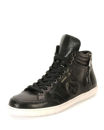 Optic-Print Textured High-Top Sneaker, Black