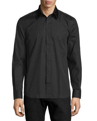 Degrade Persian-Print Long Coat & Sequin-Collar Sheer Poplin Shirt