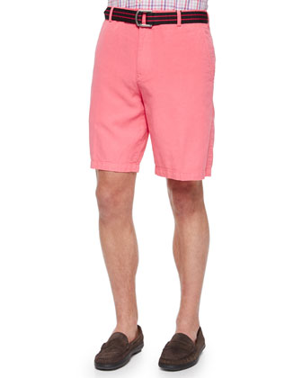 Garment-Dyed Linen-Blend Shorts, Pink