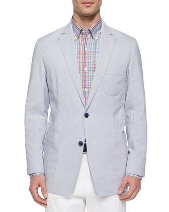 Pincord Perforated Soft Sport Coat, Navy