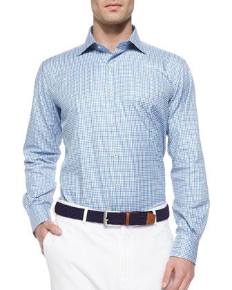 Check-Pattern Sport Shirt, Blue