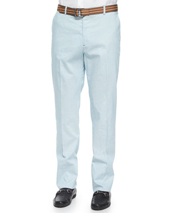 Striped Cotton/Linen Flat-Front Pants, Blue