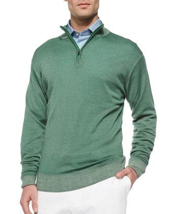 Merino Quarter-Zip Pullover, Green