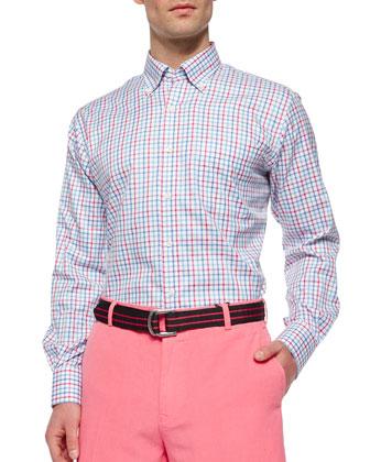 Tattersall Nanolux Long-Sleeve Sport Shirt, Pink