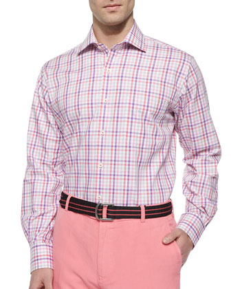 Multi-Check Woven Sport Shirt, Multi