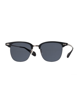 Executive I Half-Rim Sunglasses, Black
