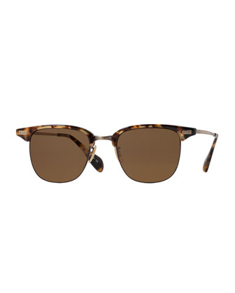 Executive I Half-Rim Sunglasses, Brown Tortoise