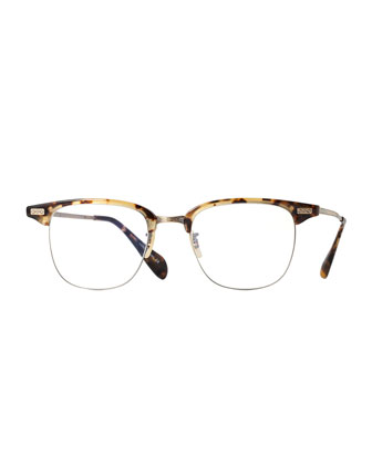 Executive I Half-Rim Fashion Glasses, Brown Tortoise