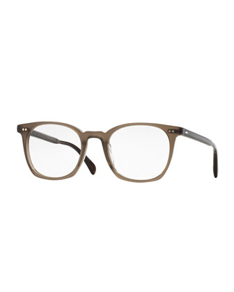 L.A. Coen Square Fashion Glasses, Beige