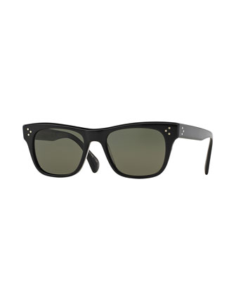 Jack Huston 52 Polarized Sunglasses, Black