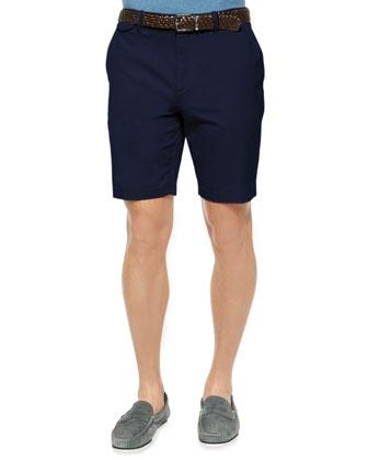 Solid Stretch-Cotton Slim Shorts, Navy