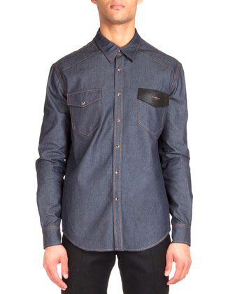 Contrast Stitching Denim Shirt with Leather Detail, Navy