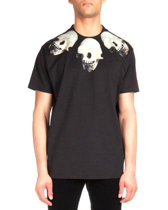 Colombian Skull-Print Jersey Tee, Black