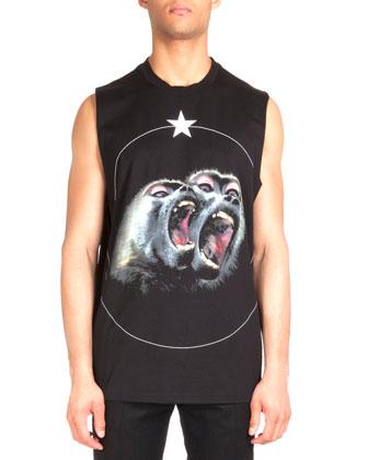 Nylon Puffer Vest with Velvet, Monkey-Print Sleeveless Tee & Flannel Wool ...