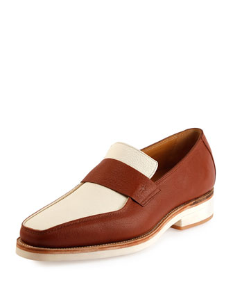 Bel-Air Camel Leather Loafer, White/Brown