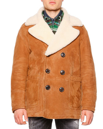 Long-Sleeve Shearling Fur-Collar Coat, Long-Sleeve Flannel Shirt w/Puffer ...