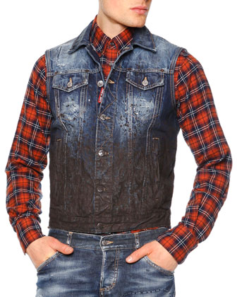 Zip-Front Puffer Vest, Distressed Mud Denim Vest, Plaid Button-Down Flannel ...