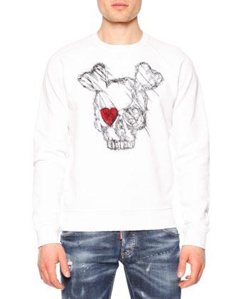 Long-Sleeve Skull w/Red Eye Sweatshirt & Paint-Splatter Distressed Denim Jeans