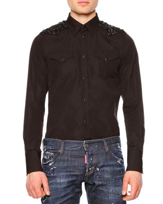 Western-Style Sport Shirt with Beaded Detail, Black