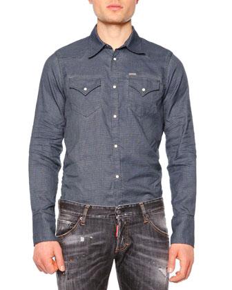 Long-Sleeve Shearling Fur-Collar Coat, Long-Sleeve Flannel Shirt w/Puffer ...
