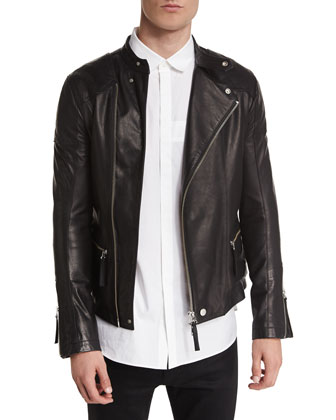Basic Rider Leather Moto Jacket, Utility-Pocket Button-Down Shirt & Basic ...