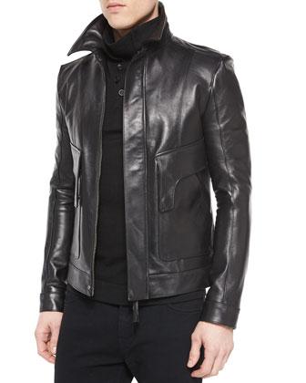 Leather Aviator Jacket, Black