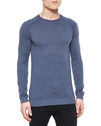 Basic Long-Sleeve Crewneck Shirt, Blue