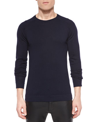Basic Wool Crewneck Sweater, Navy
